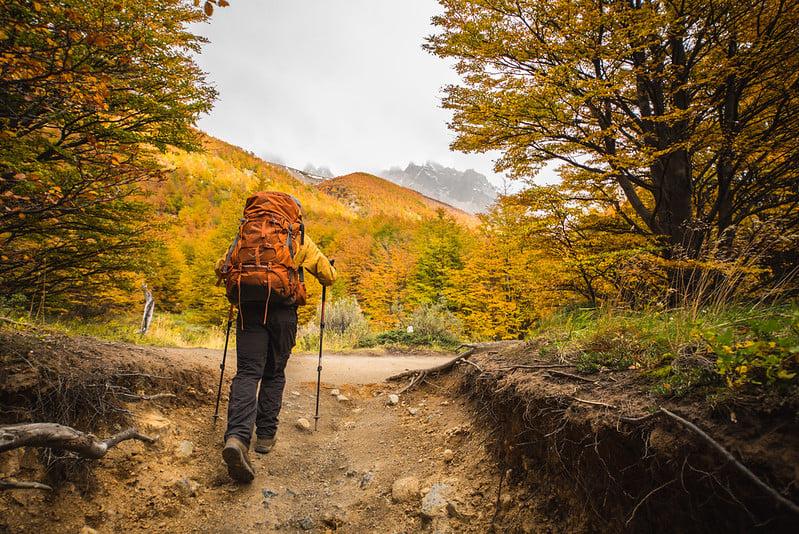 trek in Torres del Paine in autumn