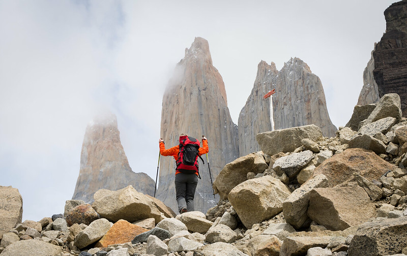 Hiking with poles in Torres del Paine