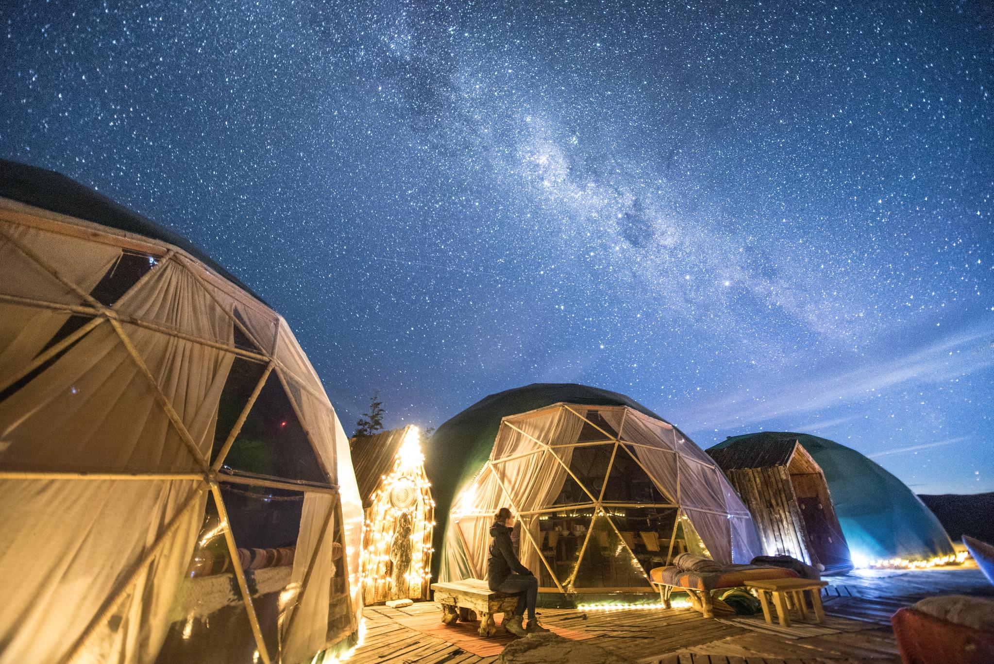 EcoCamp at night